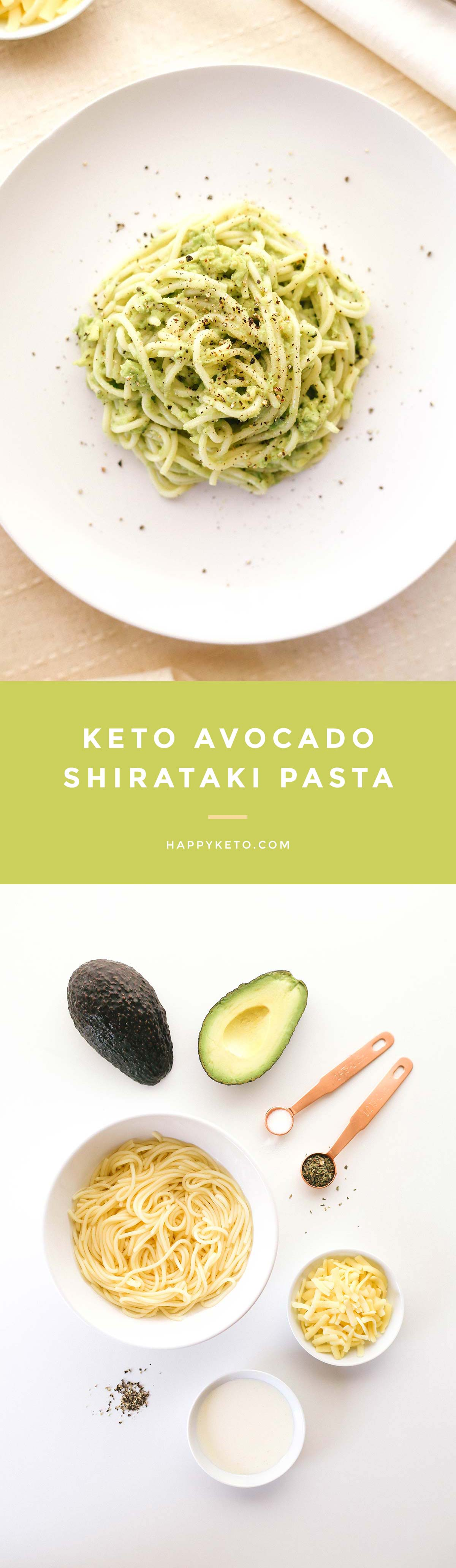 Avocado pasta for keto and low carb. Easy recipe with shirataki noodles.