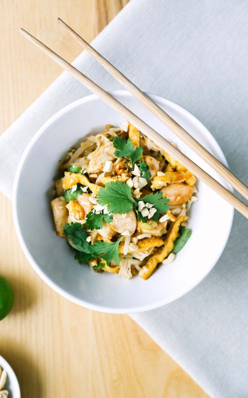 Pad thai recipe for keto and low carb. Uses shirataki noodles with chicken.
