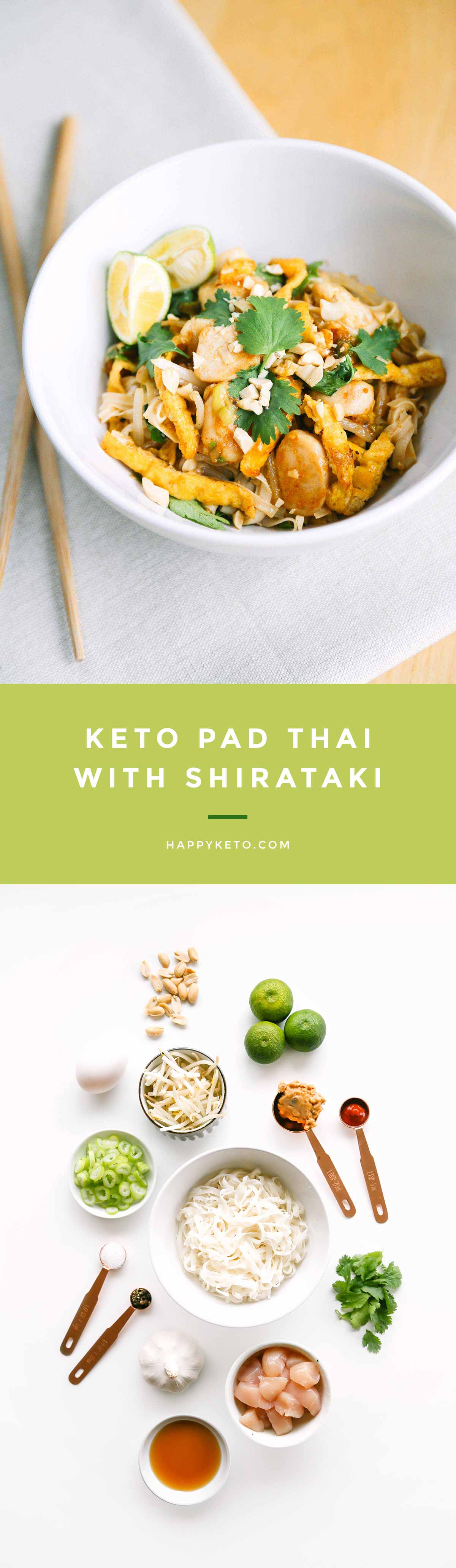 Keto pad thai recipe for low carb. Uses shirataki noodles with chicken.