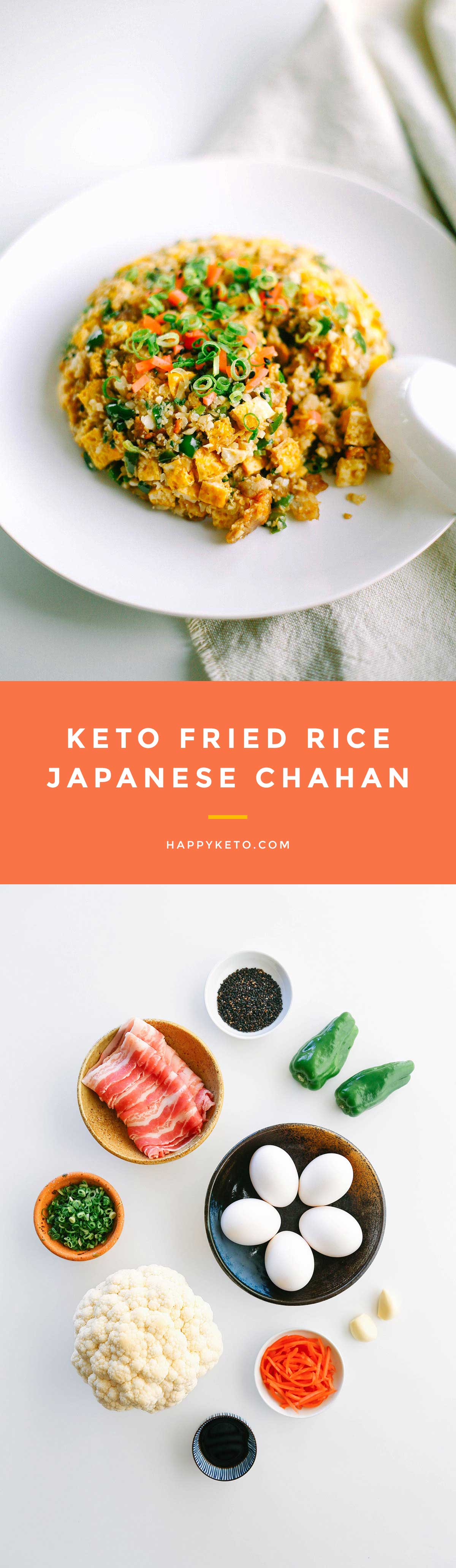 Keto fried rice for low carb. Easy chahan recipe using cauliflower rice and pork.