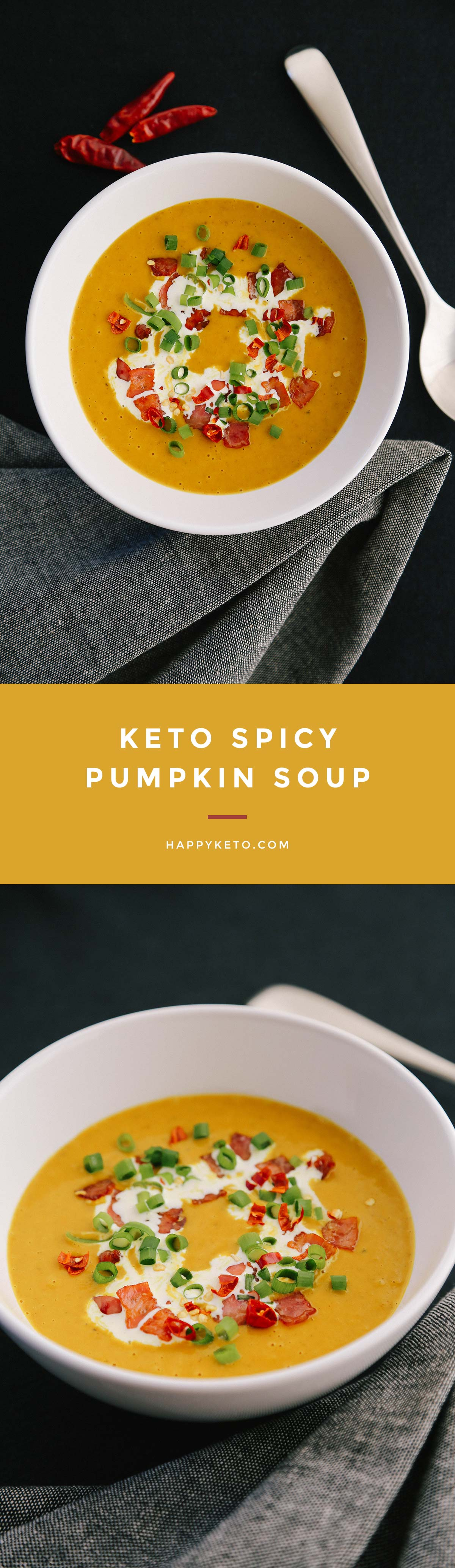Keto pumpkin soup low carb. Easy recipe using kabocha.
